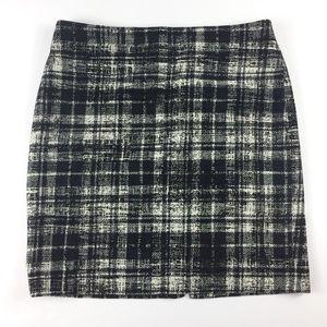 Ann Taylor Wool Blend Plaid Tweed Skirt